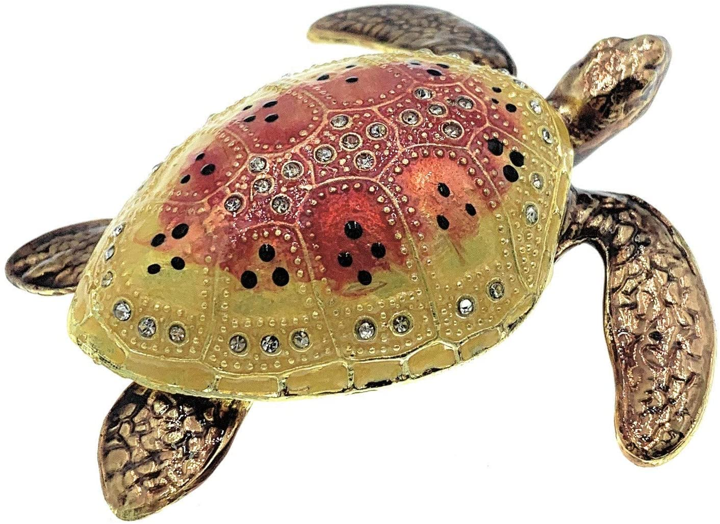 Kubla Crafts Enameled Colorful Sea Turtle Trinket Box, Accented with Austrian Crystals