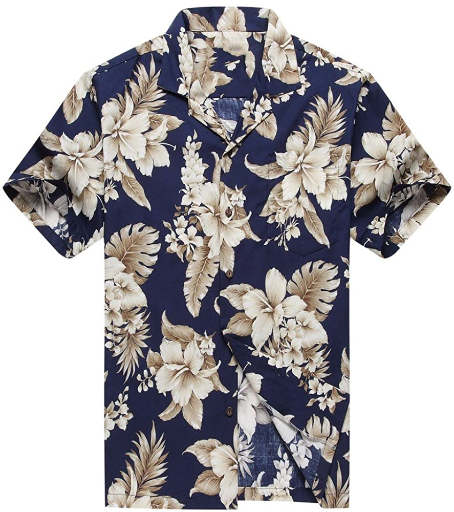 Made in Hawaii Men's Hawaiian Shirt Aloha Shirt Grey Floral Cluster in Navy