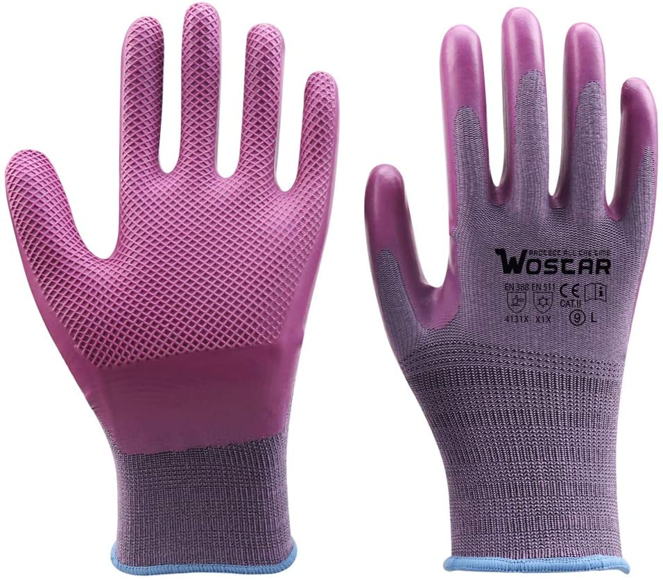 Wostar Working Texture Gloves for Women and Men, Bamboo Gloves Coating Against Cuts Barehand Sensitivity Work Glove for Gardening, Fishing, Restoration