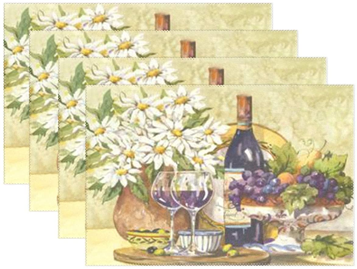 visesunny Placemat Table Mat Desktop Decoration Retro Wine Daisy Placemats Set of 6 Non Slip Stain Heat Resistant for Dining Home Kitchen Indoor 12x18 in