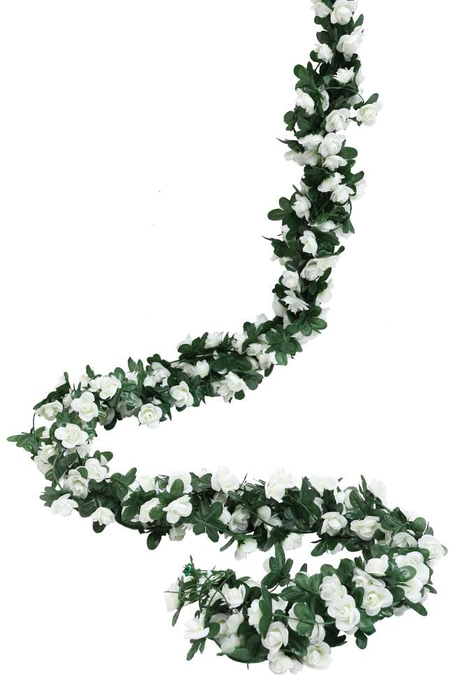 Luyue 49ft Artificial Flower Vines Fake Silk Rose Vine Garland Hanging Flowers Plants for Wedding Home Hotel Party Decor 6 Pack(White)