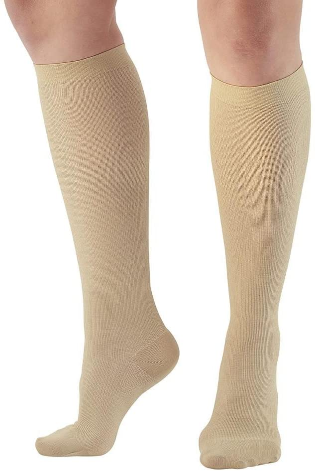 Ames Walker AW Style 113 Womens Cotton 15 20mmHg Knee High Socks Tan Large