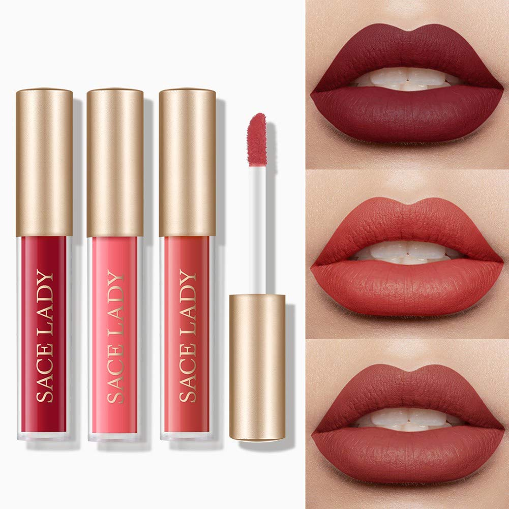 Soly Teche 3 Pcs/Set Liquid Matte Lipstick, Waterproof Long Lasting Highly Pigmented Moisturizing Lip Gloss Red Lip Stick