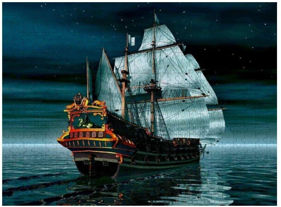 NiYoung Jigsaw Puzzle 500 Piece, Ocean Nautical Pirate Ship, Funny Wooden Puzzle Home Decoration for Living Room Bedroom Kitchen Office