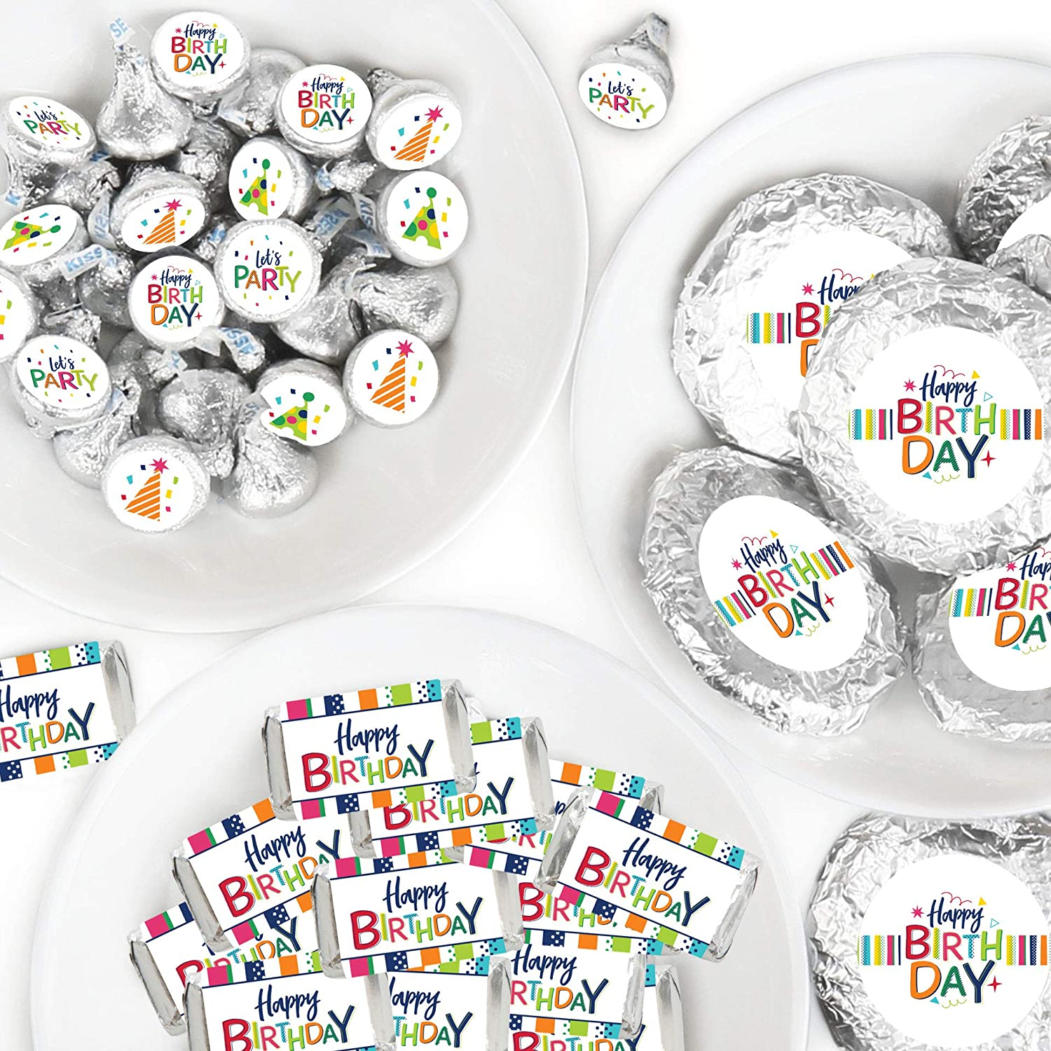 Big Dot of Happiness Cheerful Happy Birthday - Mini Candy Bar Wrappers, Round Candy Stickers and Circle Stickers - Colorful Birthday Party Candy Favor Sticker Kit - 304 Pieces