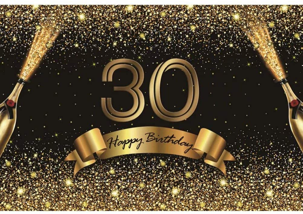DaShan 5x3ft Polyester 30th Birthday Backdrop Champagne Black and Gold Glitter 30 Years Old Birthday Party Banner Decoration Photography Background Women Men Lady Birthday Cake Table Photo Studio Prop