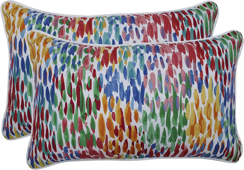 Pillow Perfect Outdoor | Indoor Make It Rain Zinnia Rectangular Throw Pillow (Set of 2), Blue