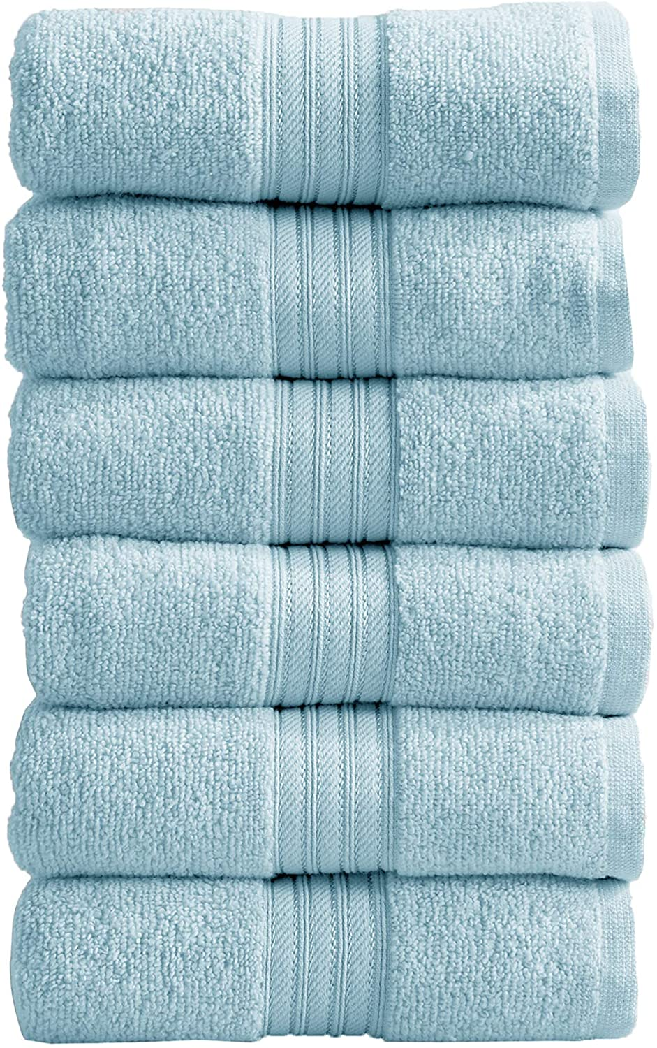 6-Pack Hand Towel Set. 100% Cotton Hand Towels for Bathroom. Absorbent Quick-Dry Plush Bathroom Hand Towels. Cooper Collection. (Hand Towels, Spa Blue)