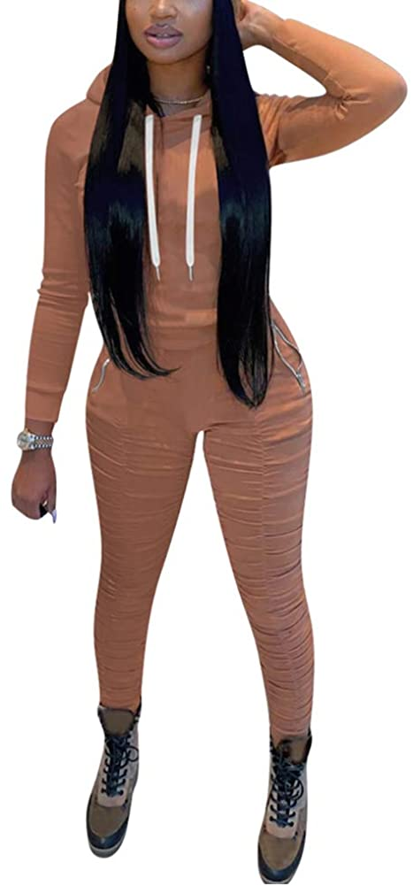 Two Piece Outfits for Women Hooded Pullover Hoodie + Bodycon Stacked Leggings Tracksuit Set Sweatsuits Jumpsuits