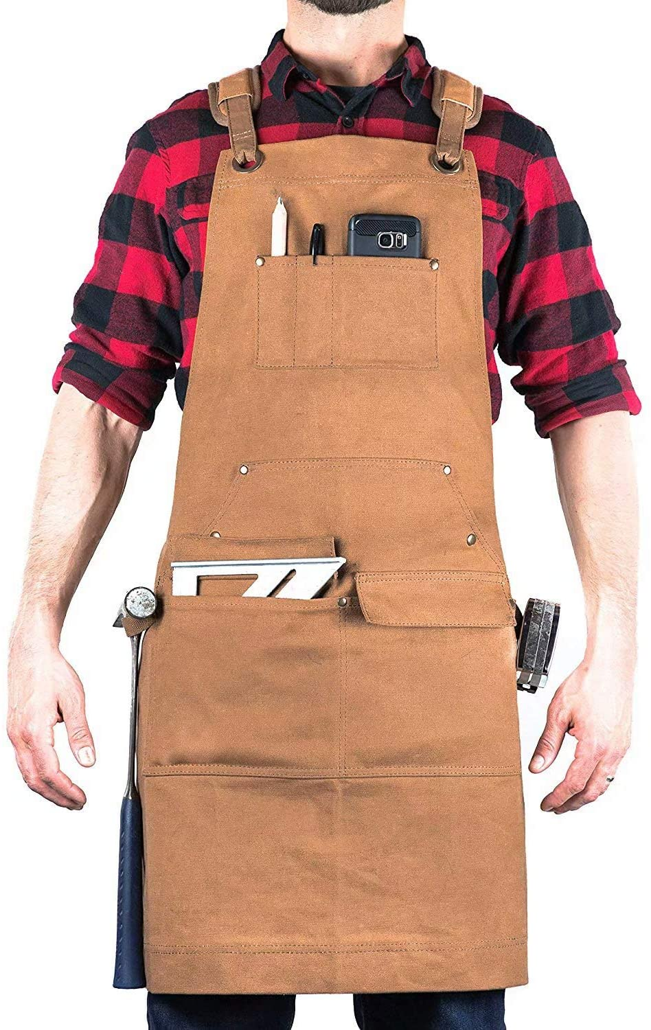 Durable Goods - Woodworking Edition - Waxed Canvas Apron (Brown) - Padded Straps, Quick Release Buckle, 2x Hammer Loops, Adjustable M to XXL