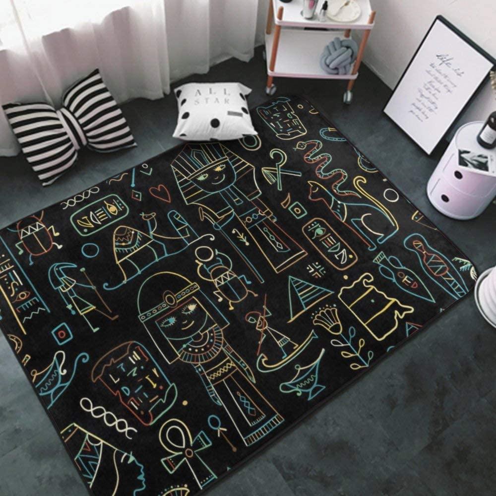 Area Rug Premium Anti Slip Floorcover Mat Egyptian Pyramids(54) 7 Indoor Carpet Multipurpose Perfect for Bedroom, Play Room, Nursery, Office