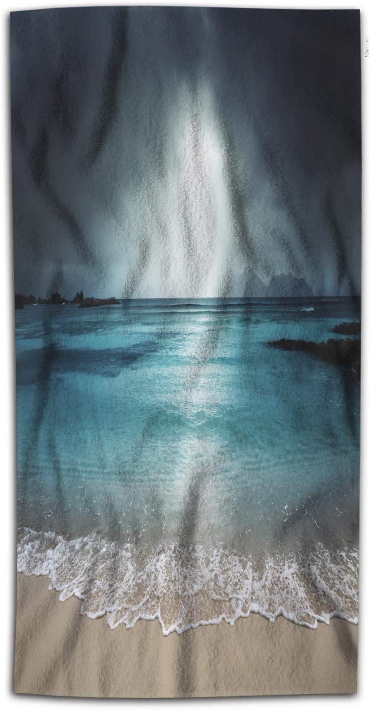 Moslion Dark Beach Bath Towels Nautical Style Holiday Summer Outdoor Ocean Coastal Sandy Sea Theme Bath Hand Towel Decor Bath Towels Soft Polyester-Microfiber for Bathroom 64Lx32W Inch