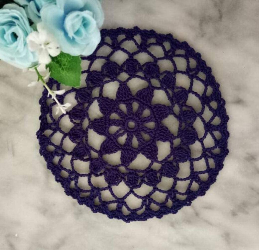 LUCACO 8 Inch Cotton Handmade Lace Crochet Placemats Doily Doilies,10PC,for Kitchen