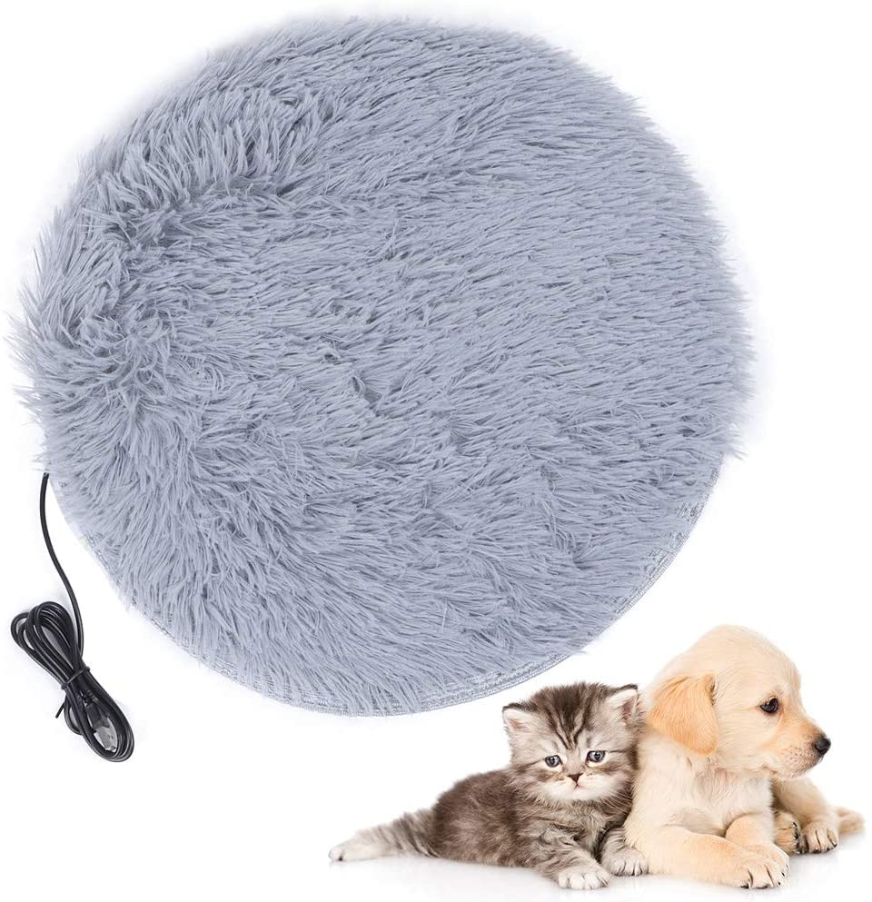 Yuehuam Pet Heating Pad, Electric Plush Heating Mat for Small Dogs Cats USB Charging Pet Heated Bed Warm Blanket Mat for Puppy Kitten Four Seasons to Use