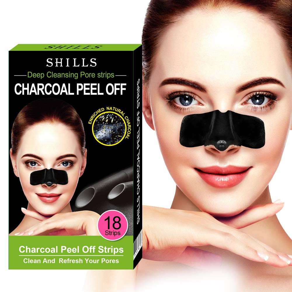 SHILLS Purifying Charcoal Pore Strips, Nose Pore Cleanser, 18 Count, Blackhead Remover, Deep Cleansing, Charcoal Peel Off Nasal Patch