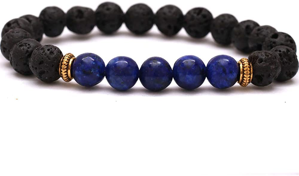 DingSheng 8mm Lava Rock 7 Chakra Beaded Bracelet Crystal Stone Essential Oil Diffuser for Men and Women Anti-Stress or Anti-Anxiety Bracelet Bangle (Lapis Lazuli Beads)