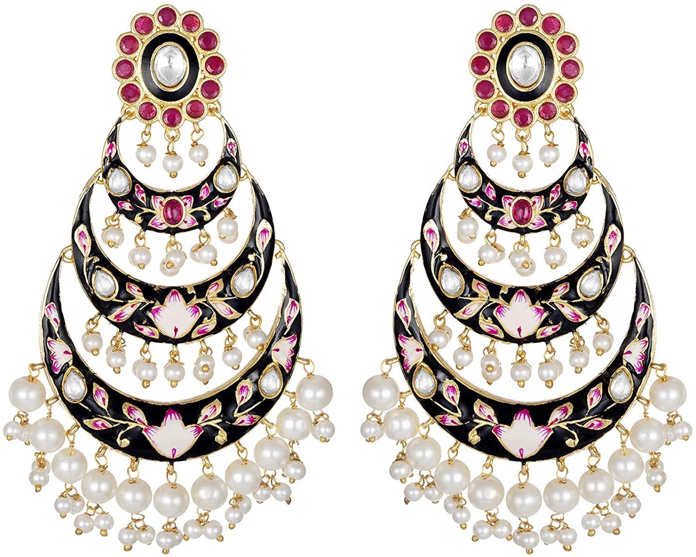 Aheli Beautiful Indian Wedding Party Wear Floral Enamel Drop Dangle Earrings with Faux Beaded Tassel Ethnic Traditional Fashion Jewelry for Women Girls