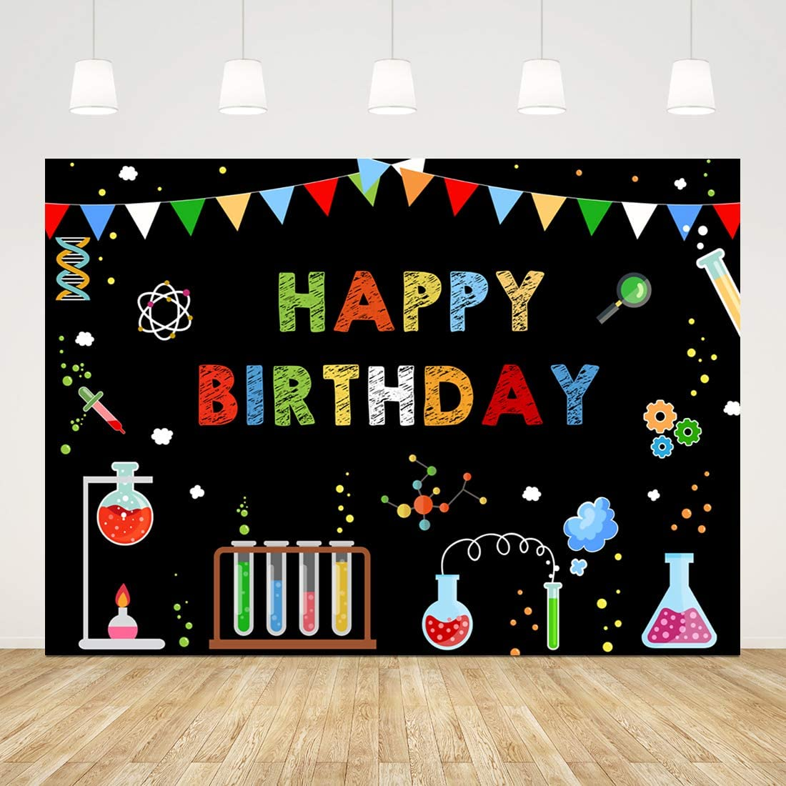 Happy Birthday Backdrop for Kids 1st Birthday Background for Boy 7x5ft Science Party Birthday Party Supplies for Boys Girls Birthday Photo Booth Props Cake Table Decor Party Photoshoot Background