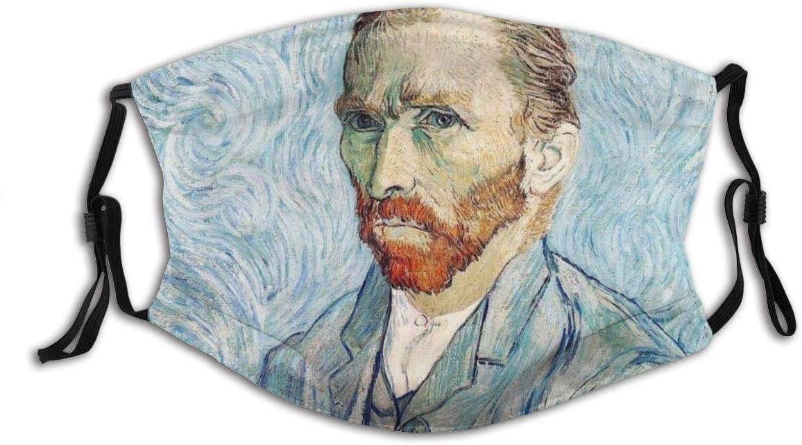 Vincent Van Gogh Self-portrait Vintage Art Painting Mouth Mask Fashion Design Reusable Windproof Dustproof Protective Fabric Face Mask Outdoors Traveling Balaclava With 2 Filters For Teens Women Man