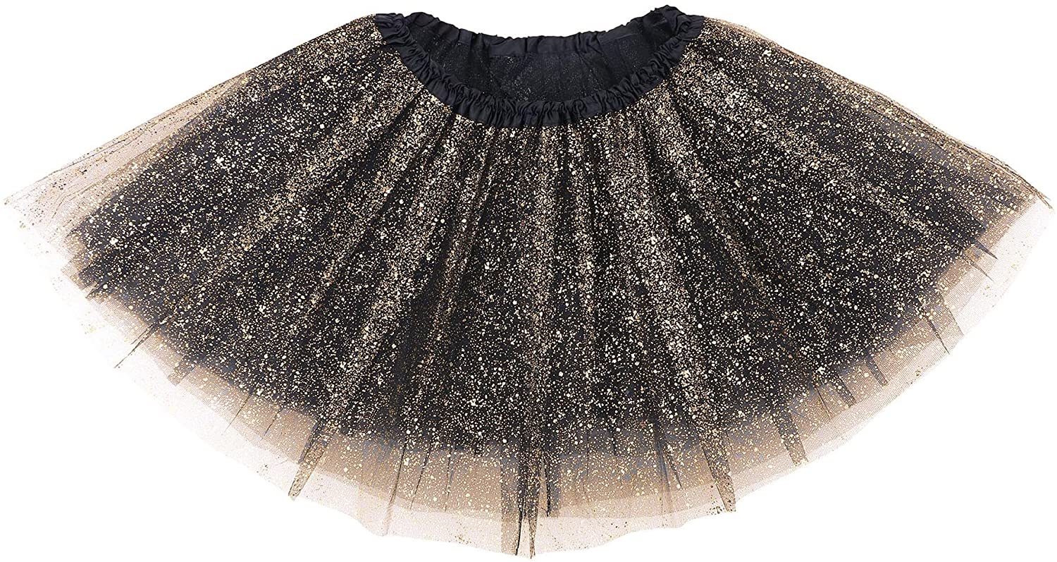 Girl's Princess 4 Layered Dress Up Tulle Tutu Skirt with Sparkling Sequins