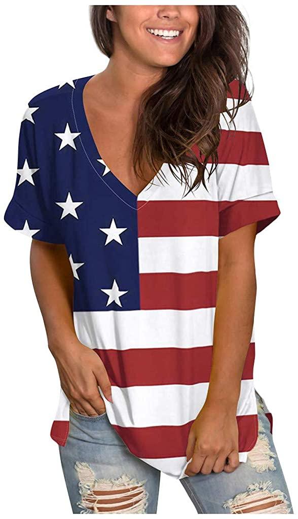 Alangbudu Women Patriotic Shirt American Flag Print T-Shirt Summer Long Sleeve Shirt Casual Loose Tee Tunic Blouse