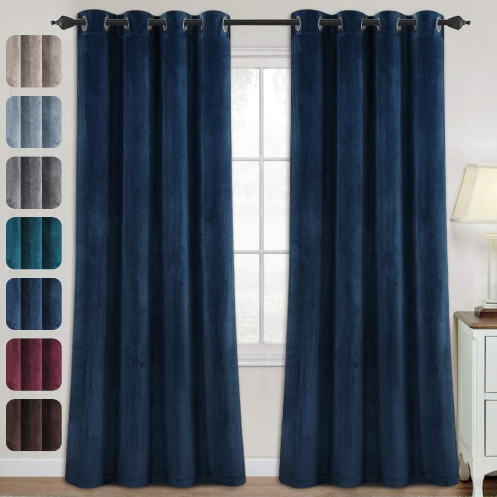 Blackout Curtains for Bedroom - Velvet Curtains 84 inch Length Super Soft Luxury Velvet Textured Drapes Thermal Insulated Grommet Panels for Living Room / Villa(2 Panels, 52 x 84 Inch, Navy)