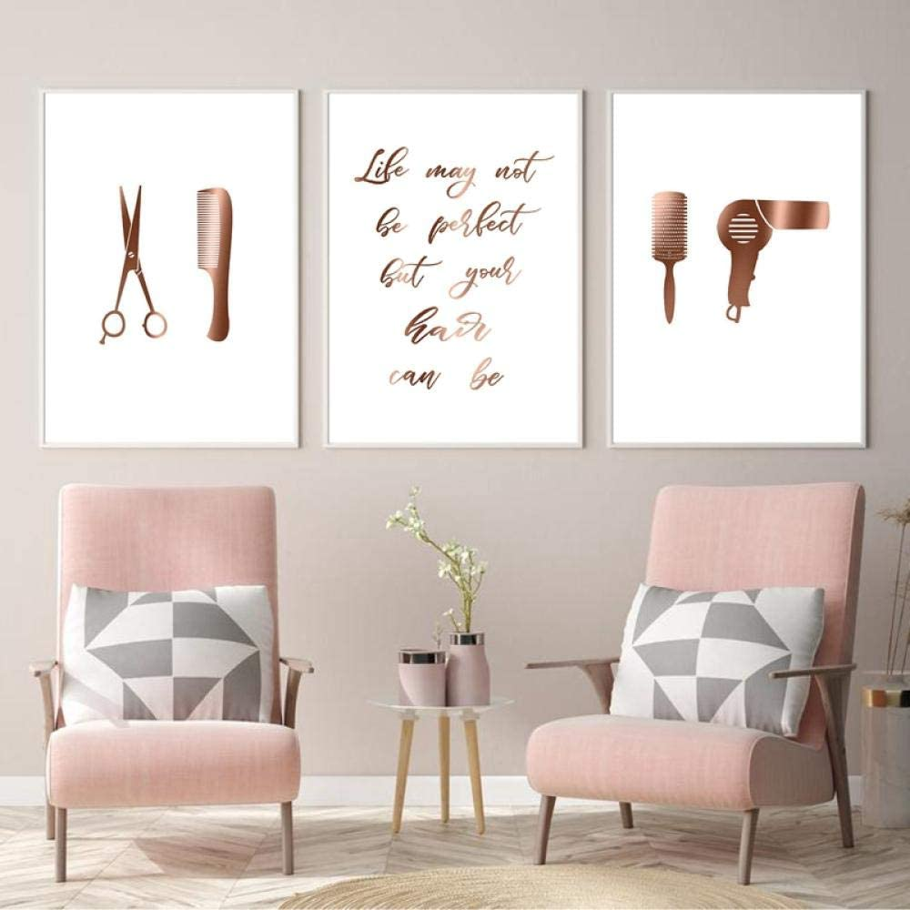 TWTQYC Hair Salon Decor Hair Quotes Posters and Prints Hairstylist Hairdresser Gift Beauty Wall Art Canvas Painting Pictures Decoration30x40cmx3 No Frame