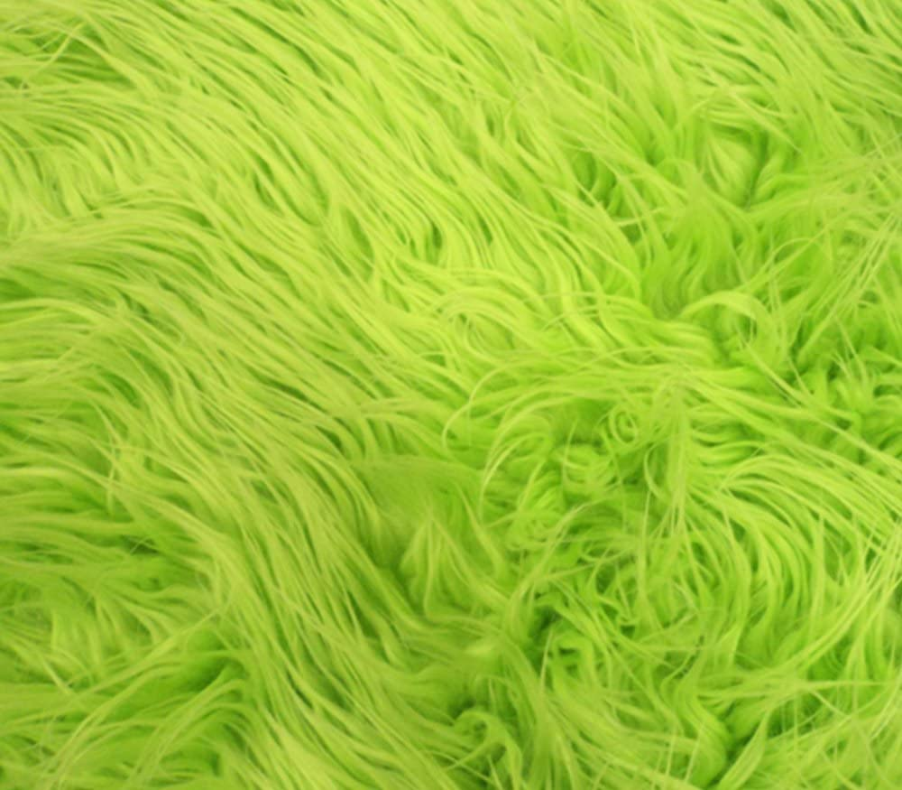 Faux/Fake Fur Mongolian Fabric Sold by The Yard (Lime)