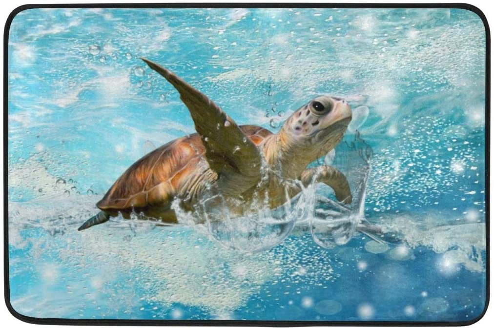 Coastal Bathroom Rugs Sea Turtle Bathroom Rugs Floor Mats for Bathroom Decor A Cute Swimming Sea Turtle