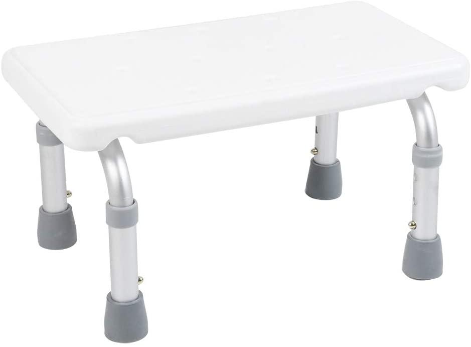 HURRISE Adjustable Height Bath Chair Shower Bench, Sturdy Aluminum Alloy Leg Bathroom Stool Non-Slip Corner Shower Seat for Kids, Adult, Elder, Disabled