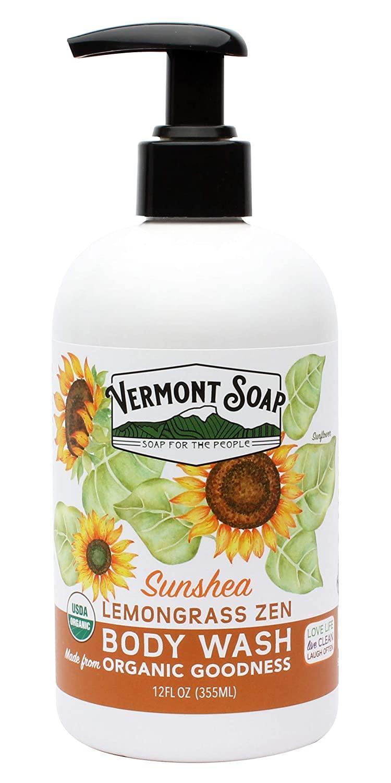 Vermont Soap Organic Lemongrass Body Wash, USDA Certified Organic Moisturizing Body Wash for Women or Men, Made With Aloe, Jojoba, and Shea Butter, Shea Moisture Body Wash (12oz Lemongrass Zen)