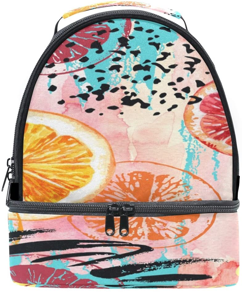 ALAZA Colorful Oil Painting Exotic Fruit Lemon Portable Shoulder Double Lunch Box Bag Insulated Lunch Tote Outdoor Bag