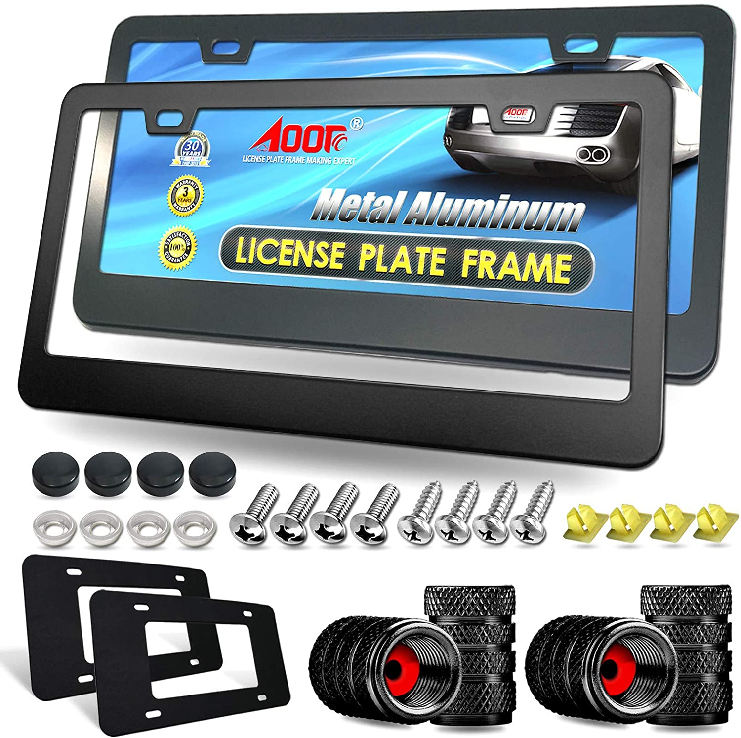 Aootf License Plate Frames- Matte Black Aluminum Car Tag Cover, 2 Pack Heavy Duty Front & Rear Holders for Women/Men, with Stainless Steel Screws Bolts, Tire Valve Caps, Rattle Proof Pads, 2 Hole