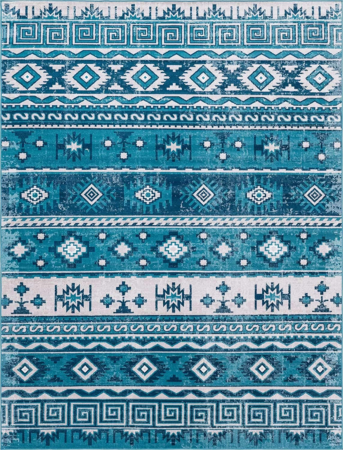 Rugs.com Lucerne Collection Area Rug – 4X6 Blue Low-Pile Rug Perfect for Entryways, Kitchens, Breakfast Nooks, Accent Pieces