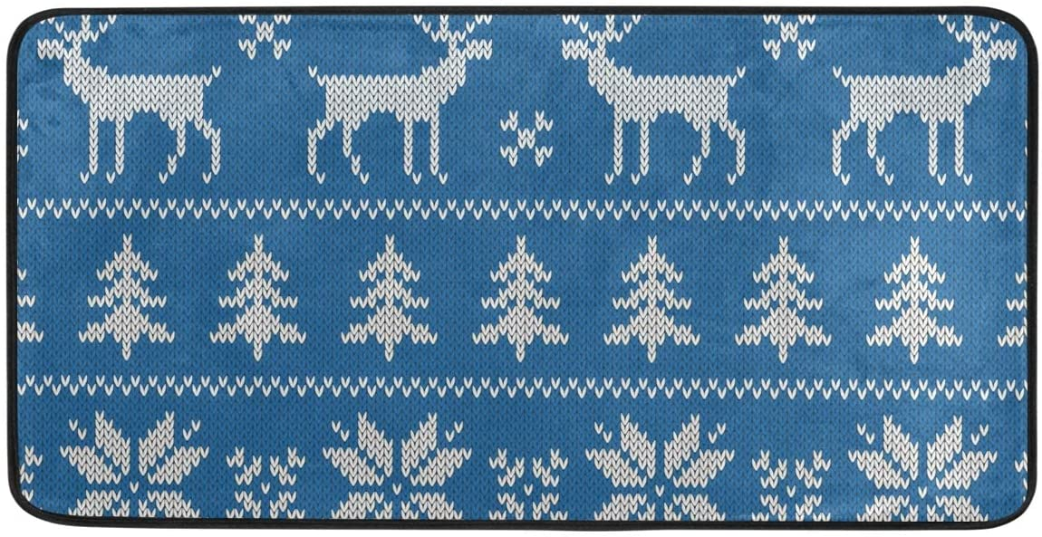 Christmas Kitchen Rug, Kitchen Sink Floor Mat Doormat for Kitchen Bathroom Decor 39 x 20 Inch Christmas Reindeer Classical Blue