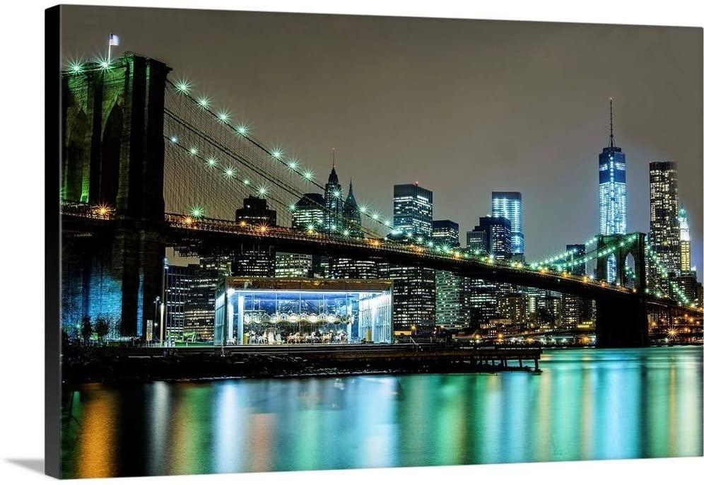 Brooklyn Bridge, Jane's Carousel and Freedom Tower Canvas Wall Art Print, 60
