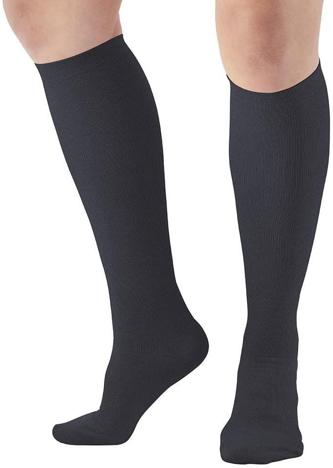 Ames Walker AW Style 116 Womens X Static Silver 20 30 Knee High Socks Black MED