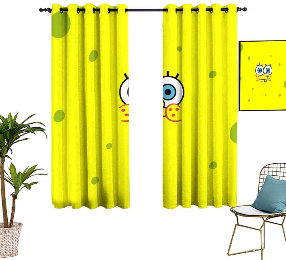 Emily Simon Kids Curtain W42 x L45 Spongebob Squarepants Curtains for Kids Living Room