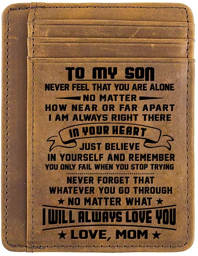 GadgetsTalk Engraved Leather Front Pocket Wallet for son from Mom Slim Wallet (W03-002-Momson) Christmas Gifts for Men