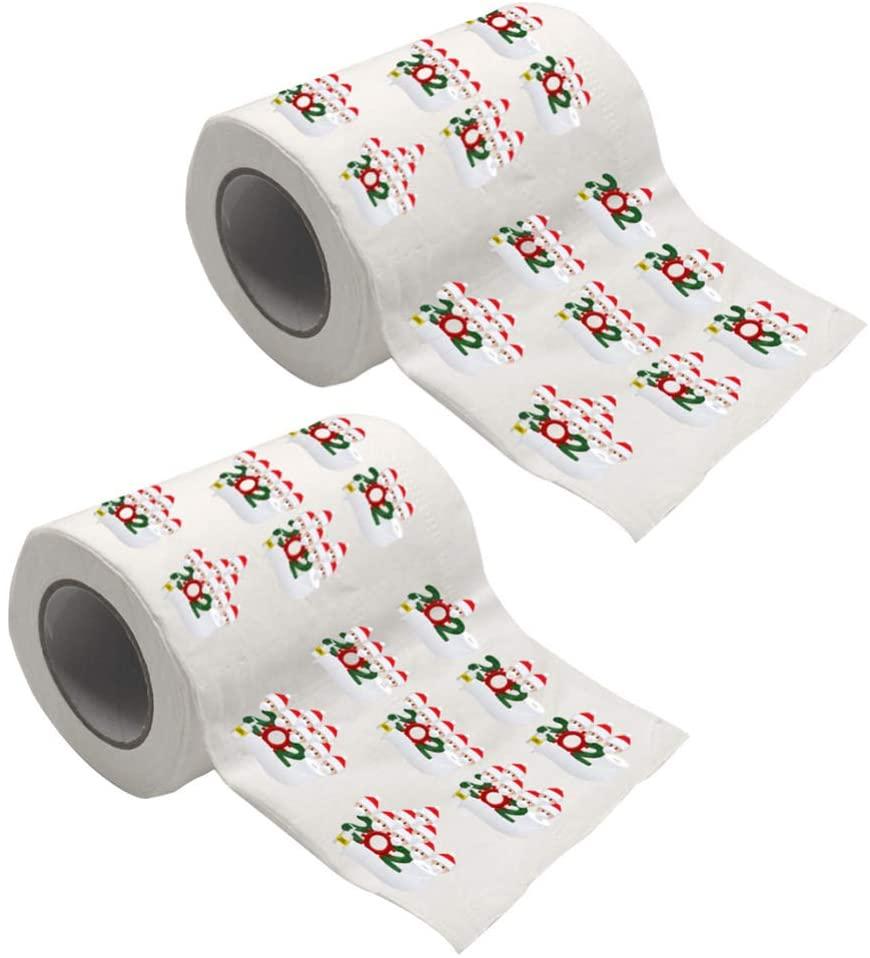 Toyvian 2 Rolls Christmas Toilet Paper Novelty Toilet Paper Napkin Prank Fun Birthday Party Novelty Gift