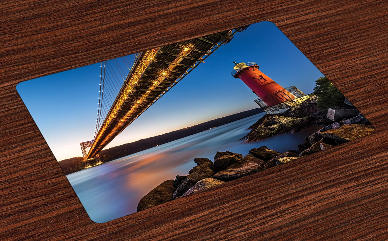Lunarable United States Place Mats Set of 4, George Washington Bridge Lighthouse on Hudson River New York, Washable Fabric Placemats for Dining Room Kitchen Table Decor, Sky Blue Dark Coral Yellow