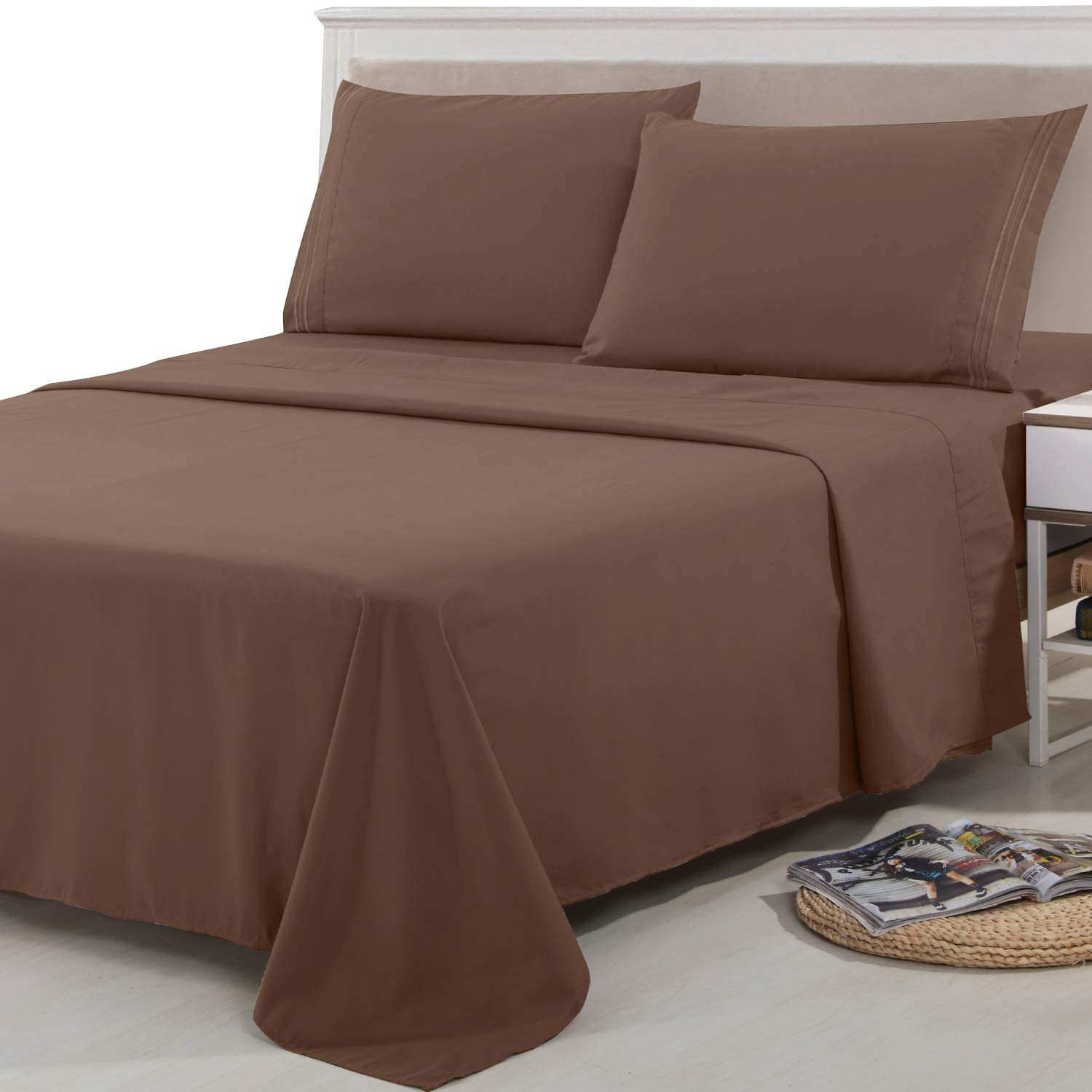 Lux Decor Collection Bed Sheet Set - Brushed Microfiber 1800 Bedding - Wrinkle, Stain and Fade Resistant - Hypoallergenic - 4 Piece (King,Embroidery Chocolate )