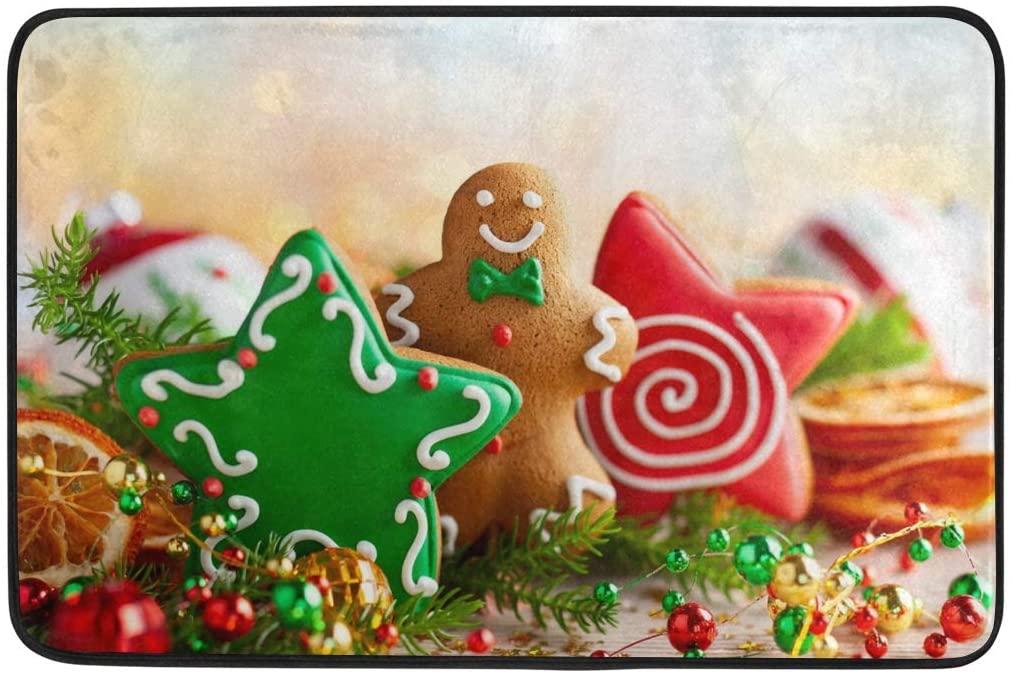 Kcldeci Merry Christmas Gingerbread Men Doormat Indoor Door Mats 23.6 x 15.7 inch Xmas Tree Snowman Pine Branch Floor Mats Entry Way Welcome Doormats Bath Pad for Kitchen Bathroom Home Decor