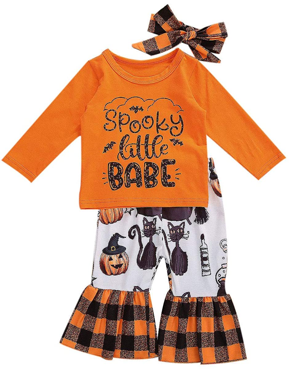 Baby Girls Halloween Clothes Infant Ruffles Long Sleeve Pumpkin T-Shirt Top Legging Pants Set