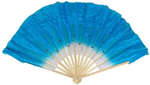 Just Artifacts Folding Silk Dance Hand Fan 12-Inch Ombre Aquamarine