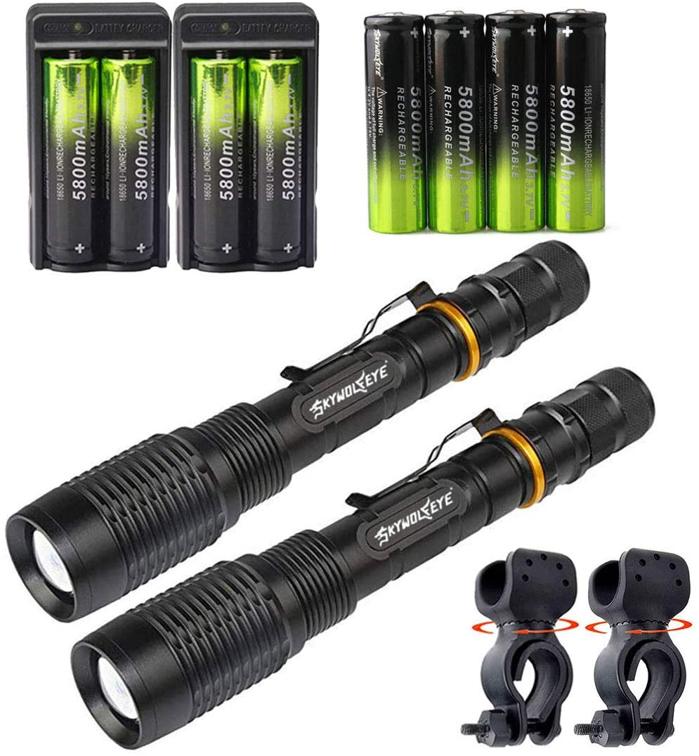 2 Set Tactical 2000LM Zoomable 5 Modes Portable LED 18650 Flashlight 5800mAh Rechargeable Batteries Dual Smart Battery Chargers Bike clip for Camping Hiking Running Outdoor