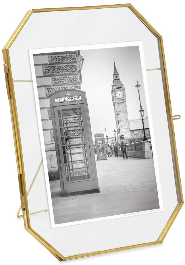 """Isaac Jacobs 6x8 Vintage Style Octagon Brass & Glass, Metal Floating Picture Frame with Locket Closure (Vertical), Tabletop Display, (Fits up to a Cutout 6"""" x 8"""" - See Image)"""