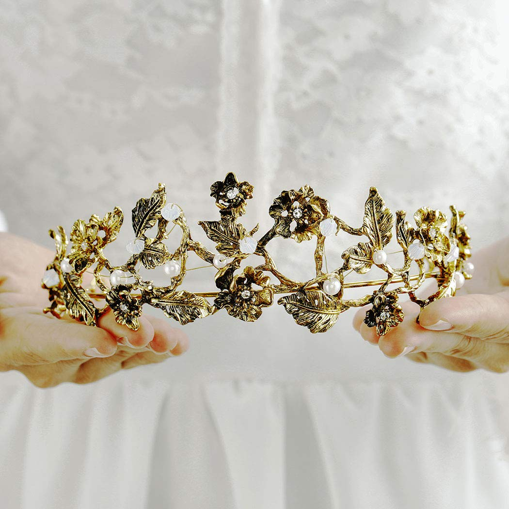 Ibliss Baroque Wedding Crown Gold Flower Pearls Bride Tiaras Queen Crystal Bridal Hair Accessories for Women and Girls