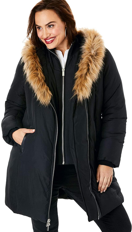 Roamans Womens Plus Size Double-Layer Puffer Coat Winter Jacket