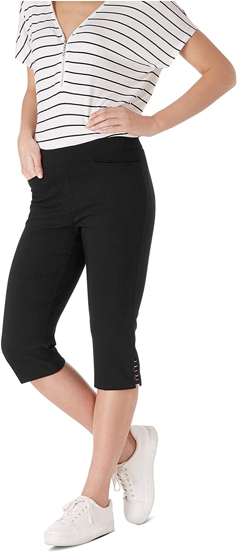 89th + Madison Women's Millennium Stretch Buckle Trim Comfort Waist Capri Pants